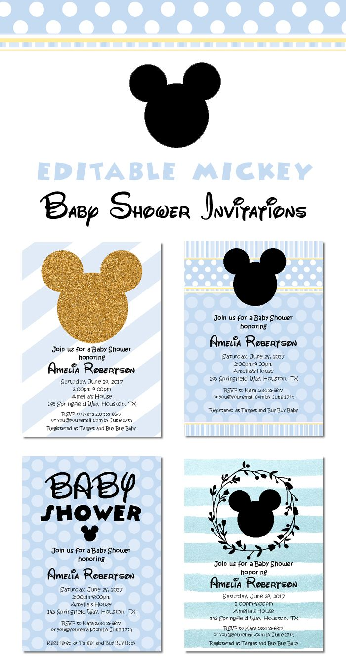Look At All These Cute Mickey Mouse Baby Shower Invitations Instant