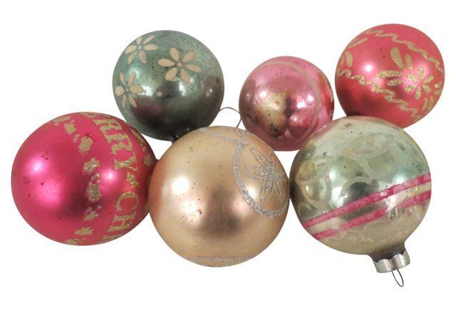 Midcentury Christmas Ornaments, S/6