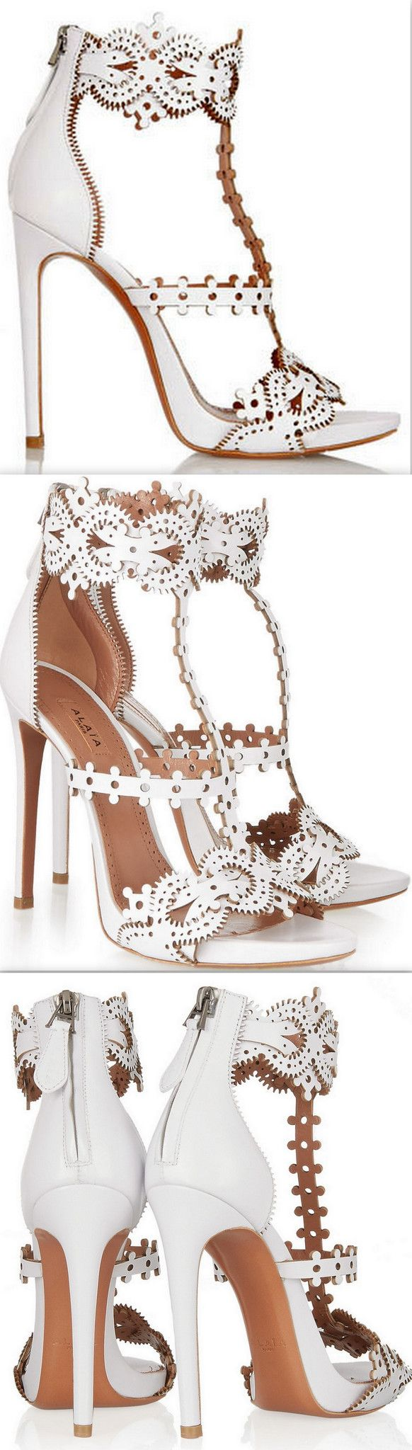 Laser-Cut Leather Sandals, White