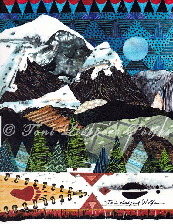 Rocky Mountain Painting, print of original watercolor collage painting by Toni Lieppert Polfus