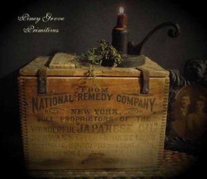 ~ Antique Primitive  Medicine Apothecary Wood Box Dr. Swan's National Remedy ~