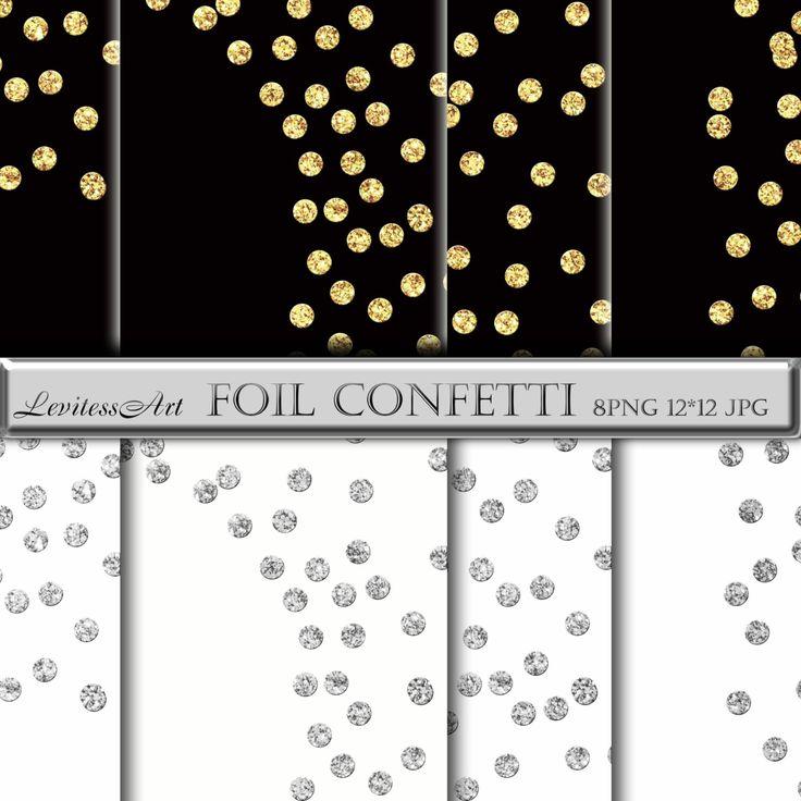 Confetti foil clipart Gold and silver glitter polkadots ...
