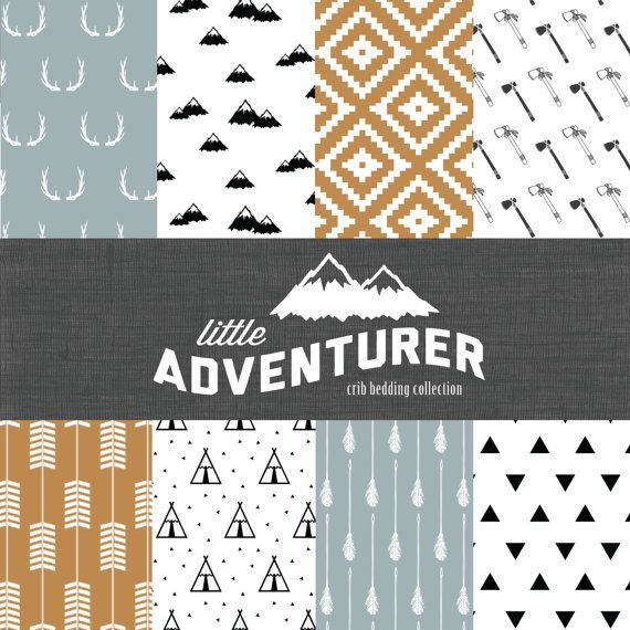 Fabric & Patterns. Little Adventurer Crib Bedding Set Modern Custom by CozybyJess, $62.00
