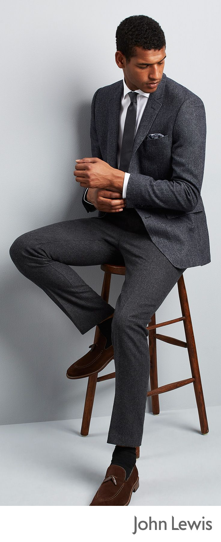 Equally at home in the boardroom as the bar, grey suits are a smart choice for adding versatility to your formal wardrobe. Crafted from subtly textured birdseye fabric in a charcoal tone, this John Lewis suit will make a welcome change from your black or navy weekday attire. Wear it with a plain double cuff shirt, silk tie and suede shoes for an understated yet stylish look.