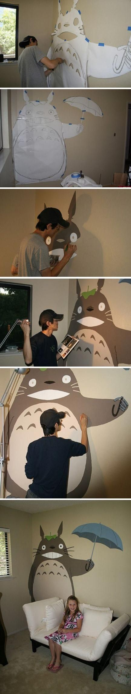I'm only repinning because Totoro is a creature who follows children around when the they are about to die. He is an omen. The fact he painted this on his kids wall is ironic!