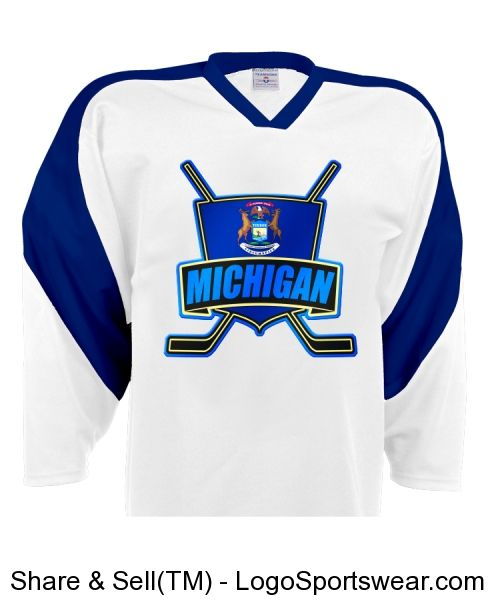 #Michigan Flag Shield Logo Customizable Hockey Jersey.  Check out my store: http://gamefacegear.logosoftwear.com/ to see more hockey jerseys! All can be customized with your choice of name & number. #hockeyjersey #icehockey