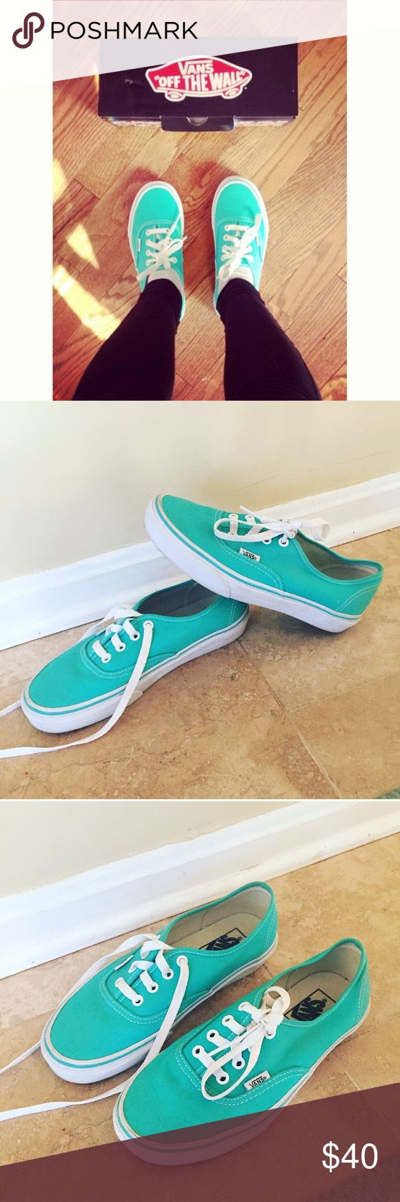 AUTHENTIC VANS - mint green Size 7! Worn ONCE. Great condition and gorgeous color! Vans Shoes Sneakers