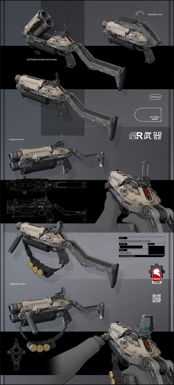 ArtStation - Double Barrel Grenade Launcher by rmory studios, Kris Thaler #DronesConcept #droneconcept