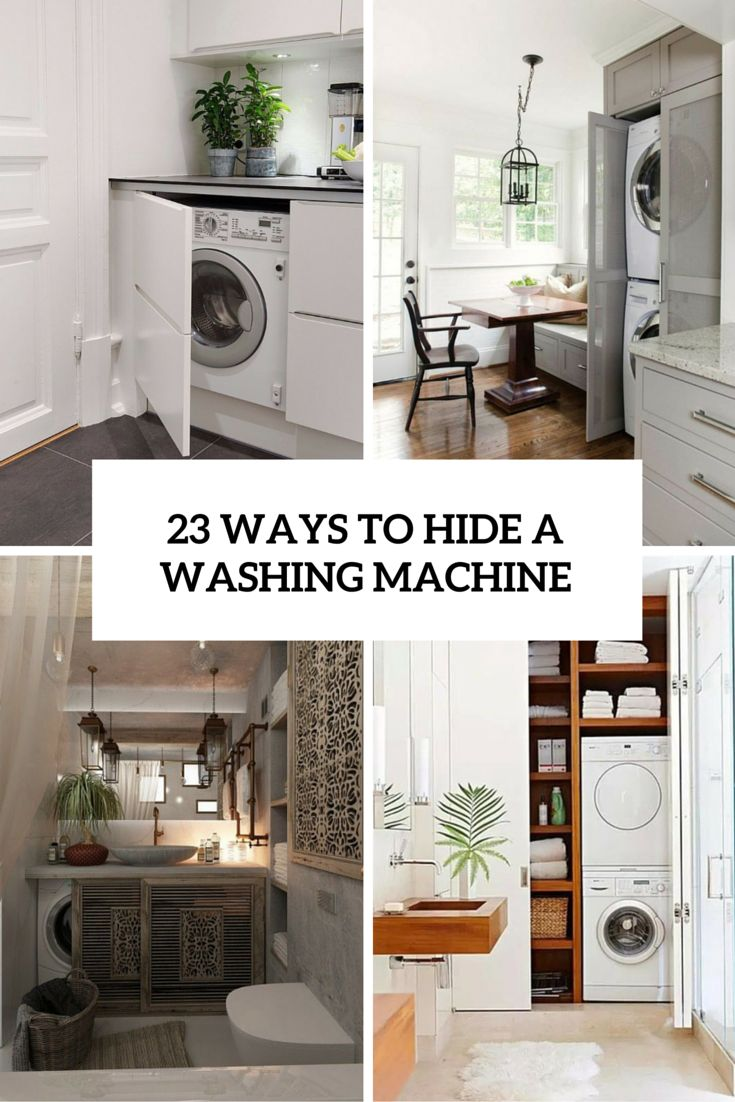 17 best images about ways to hide a washing machine in a for Washing machine in bathroom ideas