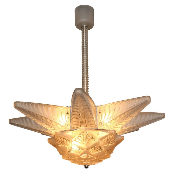 A french art deco chandelier by rene lalique model stockholm ii created c