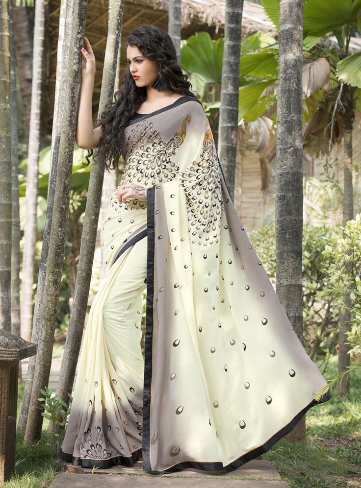 Gray Silk Printed Saree With Blouse 80691