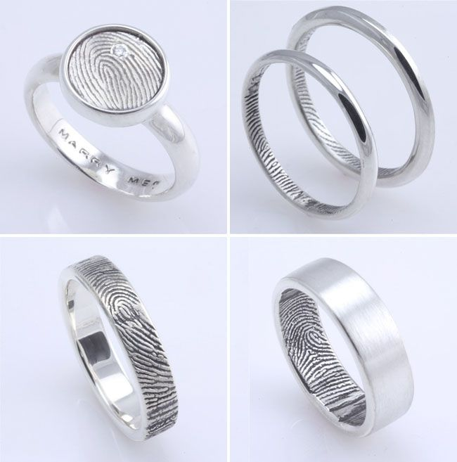 Cute Cute idea to have each others fingerprints on the inside of your wedding band