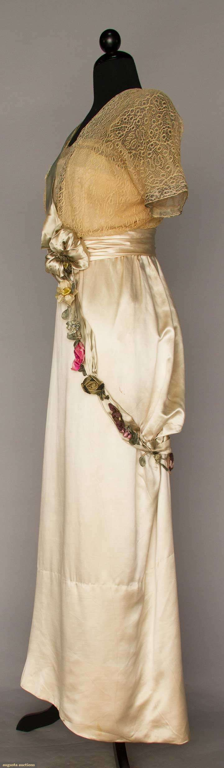 Evening Gown (image 2) | Jeanne Hallee | France; Paris | 1912 | satin charmeuse, lace | Augusta Auctions | May 10, 2016/Lot 1012