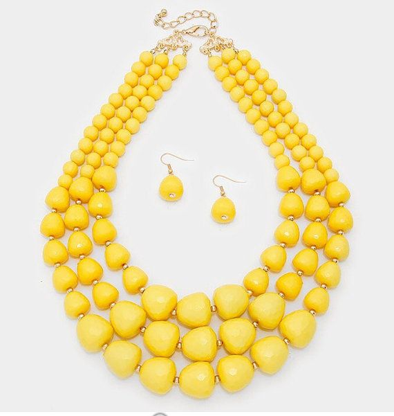 ON SALE Multi strands Yellow Necklace, three strands, statement,  beaded yellow…