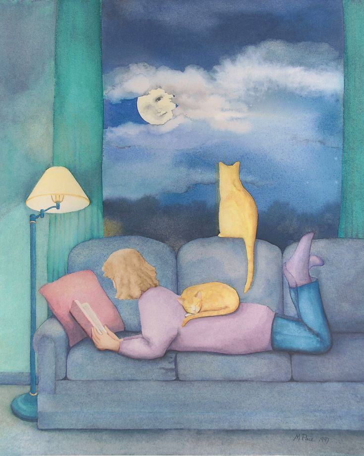 A perfect moment in time. Evening, Moon, Woman, Reading, Couch, Cats [Origin Unknown]