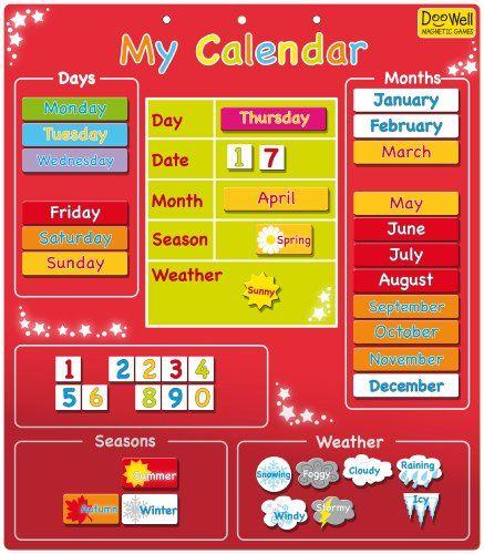 Doowell - Calendario magnético (en inglés), color rojo