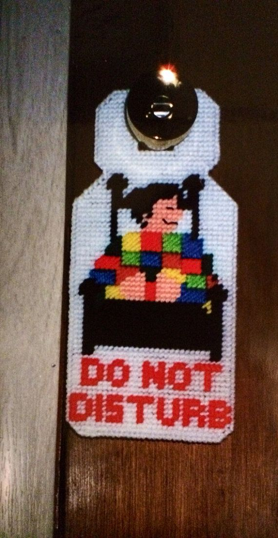Do not disturb doorknob hanger plastic canvas