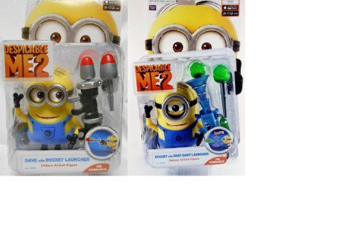 Despicable Me 2 - Dave w/ Rocket Launcher AND Stuart w/ Fart Dart Launcher Figures @ niftywarehouse.com #NiftyWarehouse #DespicableMe #Movie #Minions #Movies #Minion #Animated #Kids