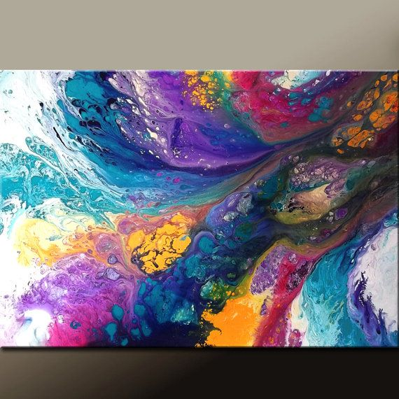 LEAPS & Bounds Abstract Modern Art Painting 36x24 Original by wostudios on Etsy, $129.00