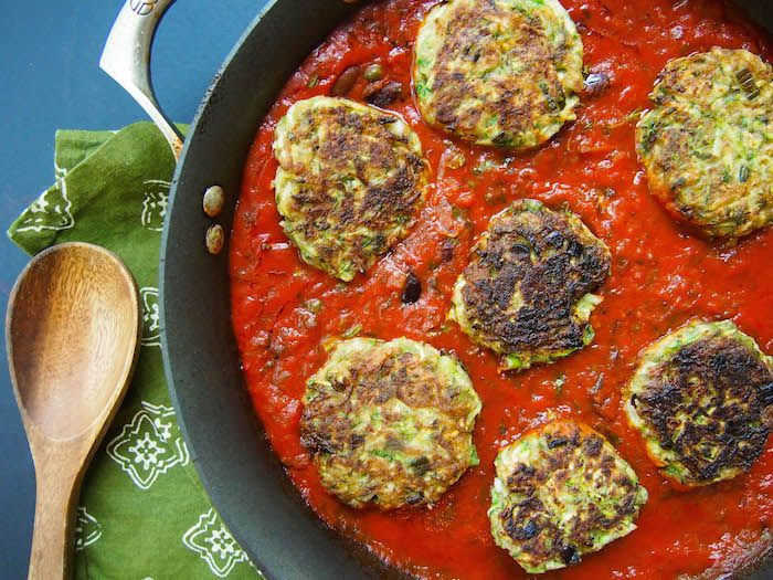 Zucchini Fritters in Olive Tomato Sauce