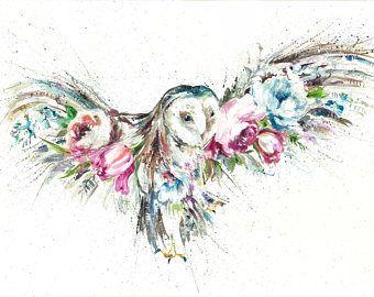 A4 Giclee print Schleiereule, Eule floralen Design Druck Aquarell Kunstdruck von Nicola Jane Rowles