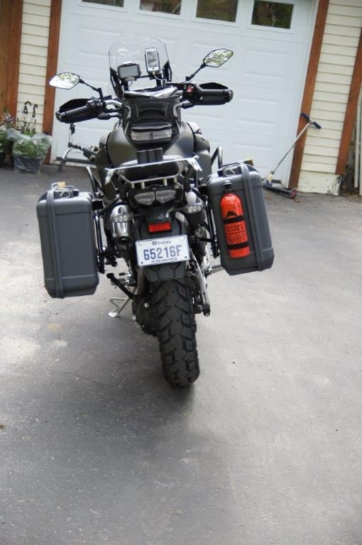 Yamaha Super Tenere 2014 ES equipped with Nanuk 940 in Graphite color. The client drilled hols on the side if the case to attach the little portable gas stove tank.