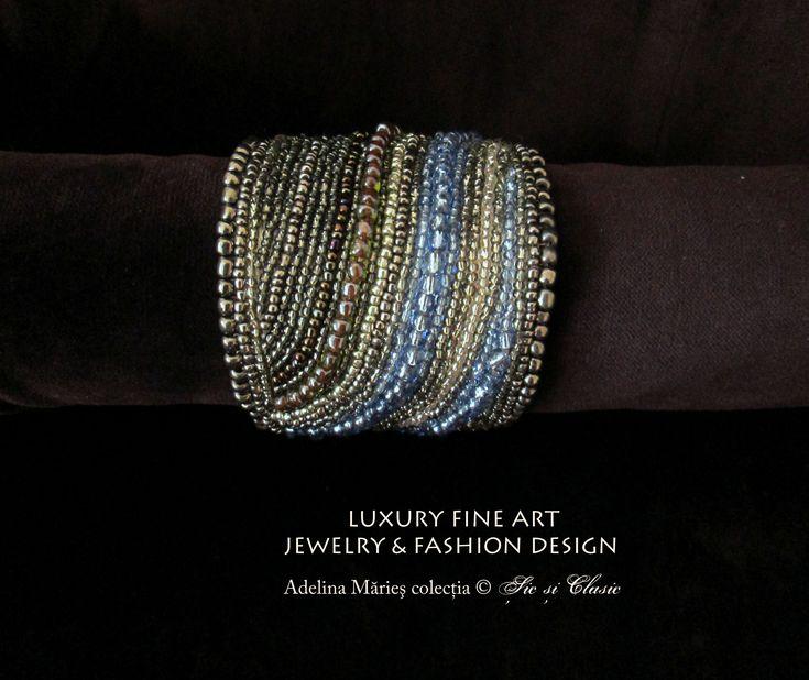 Dark silver and transcendental blue bracelet haute couture embroidery fashion 2014 biuterii de argint bratara colectia Sic si Clasic Baia Mare fabricat in Maramures