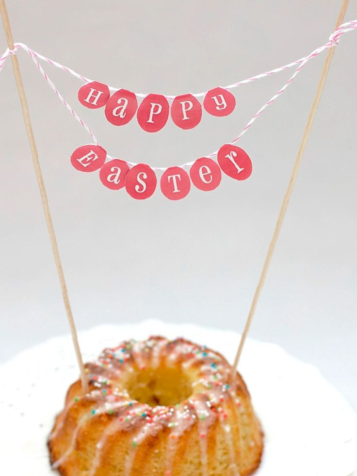 DIY-Anleitung: Oster-Cake-Topper als Girlande basteln / diy tutorial for an Easter cake-popper via DaWanda.com