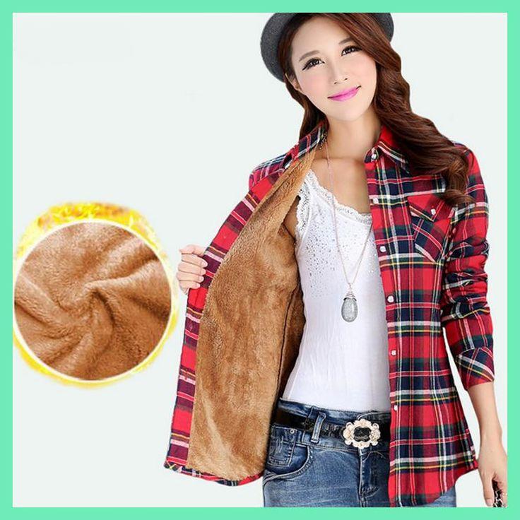2017 Winter Velvet Thick Keep Warm Women Plaid Blouse Female Long Sleeve Pocket Tops Winter Check Blouse Shirts Blusas Femininas