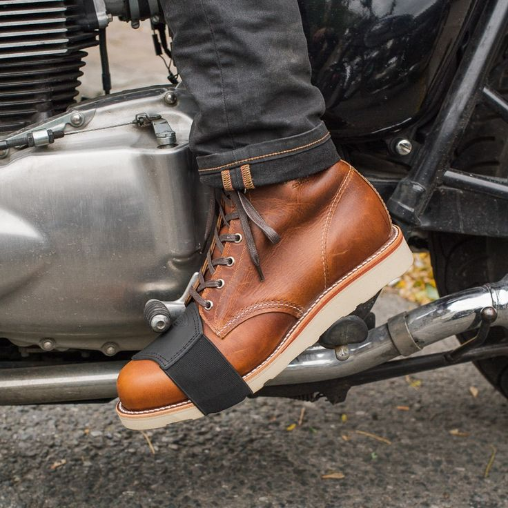 "Shifter boot protector by Held via Town Moto. ""Town Moto is a shop in downtown Toronto specializing in motorcycle gear and related ephemera."""