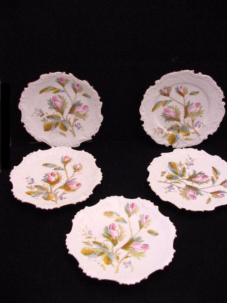 5 antique Limoges plates
