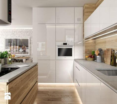 Aranżacje wnętrz kuchnia portfolio średnia kuchnia styl skandynawski peka studio