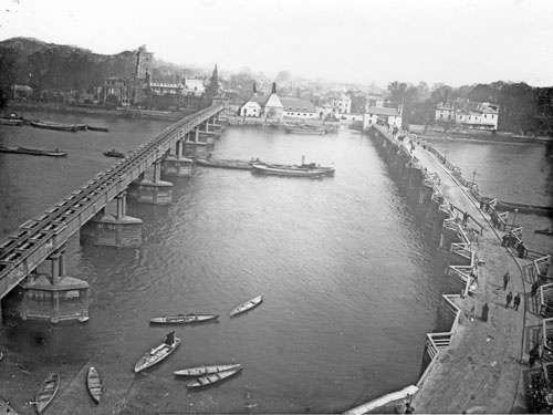 Aqueduct (left) and old Putney Bridge from the tower of St Mary's, Putney. 1881. (London)