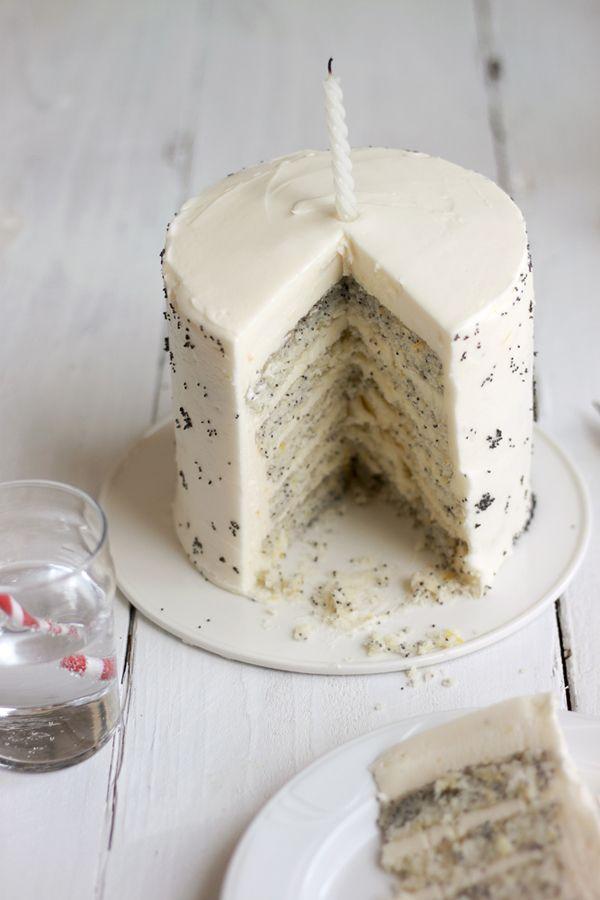 Lemon Poppy Seed Cake.: Poppies Seeds Cakes, Poppy Seed Cake, Cream Cheese, Cheesecake Frosting, Eating Cakes, Poppyseed Cakes, Cheese Cakes, Cakes Frostings, Birthday Cakes