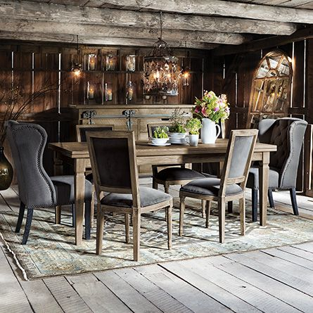 luciano 54 rectangle dining table with refectory leaves in weathered extends to 94 arhaus. Black Bedroom Furniture Sets. Home Design Ideas