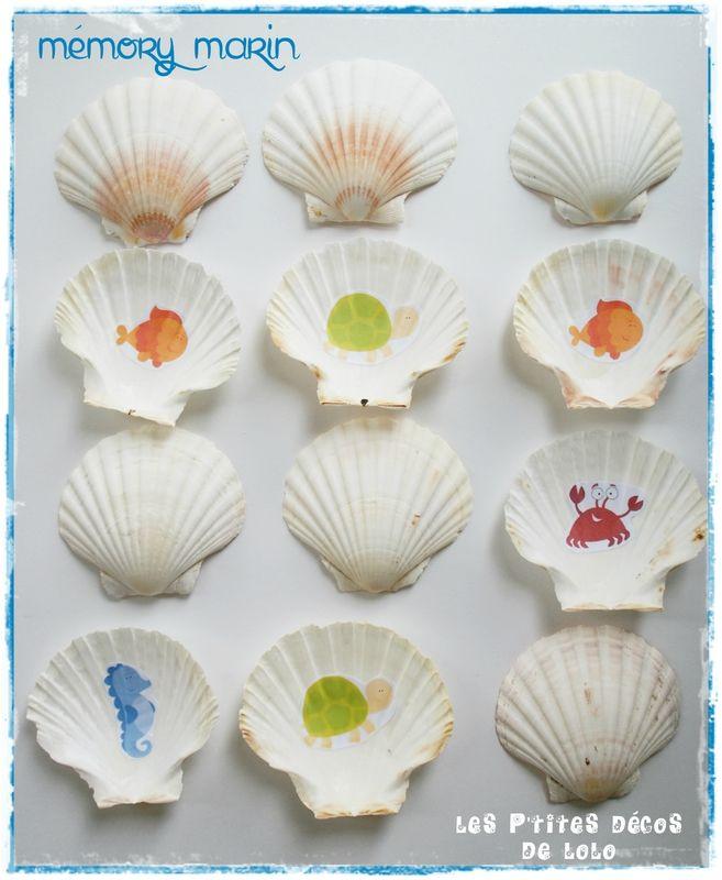 Avec des coquilles St jacques, ateliers autonomes : faire un mémory sur le thème de la mer