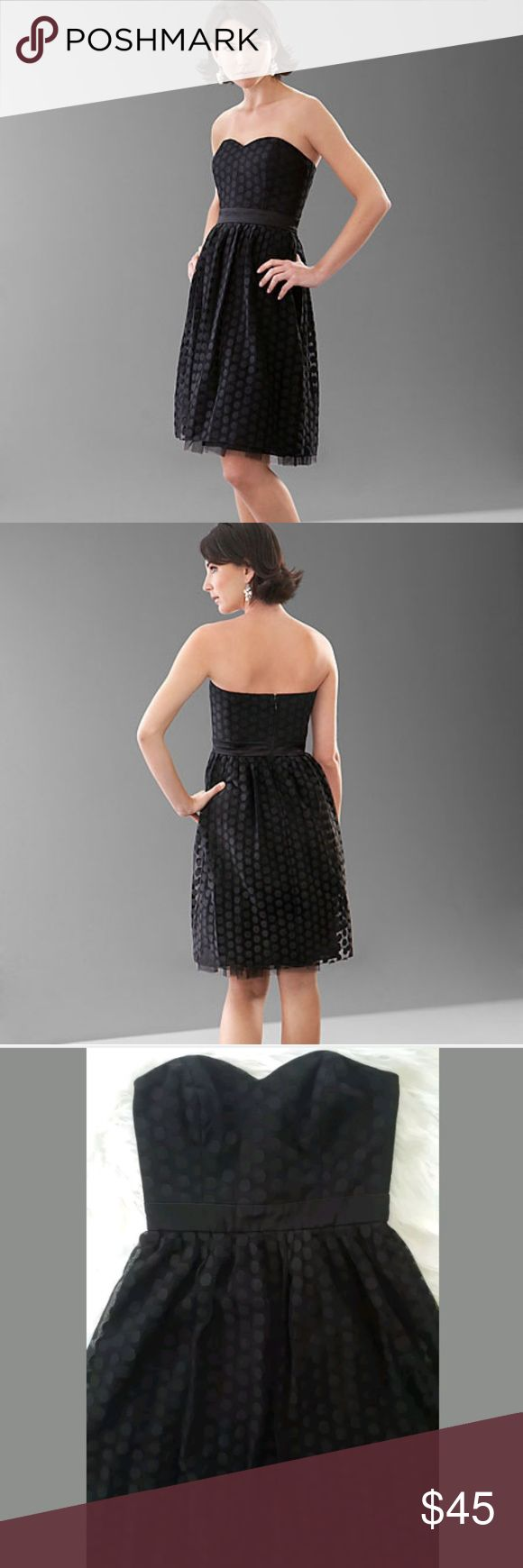 White House Black Market Black Polka Dot dress Black Polka dot dress size 4  Sweet heart neckline  Strapless Great condition great dress for a night out or for holiday dinner! White House Black Market Dresses