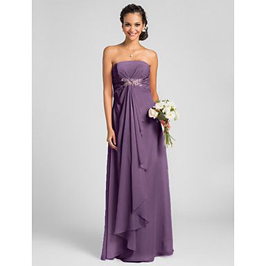 Lanting Bride Floor-length Chiffon Bridesmaid Dress Sheath / Column Strapless Plus Size / Petite withDraping / Crystal Brooch / Criss – USD $ 69.99