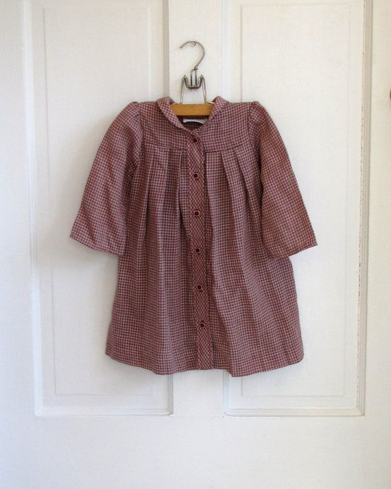 Girls Vintage Back to School Toddler Plaid Dress by BlueBirdLucys