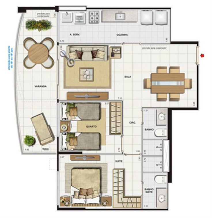 Resultado de imagem para plantas apartamentos de 2 quartos