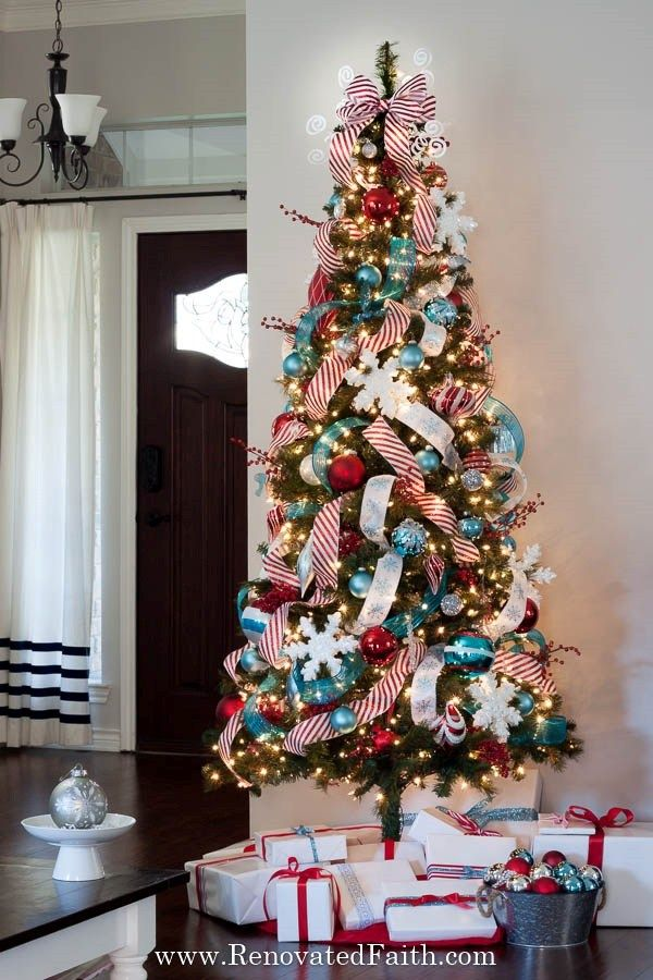 Easiest Way To Add Ribbon To A Christmas Tree Simple Ribbon Hack Christmas Tree Garland Ribbon On Christmas Tree Christmas Tree Topper Ribbon