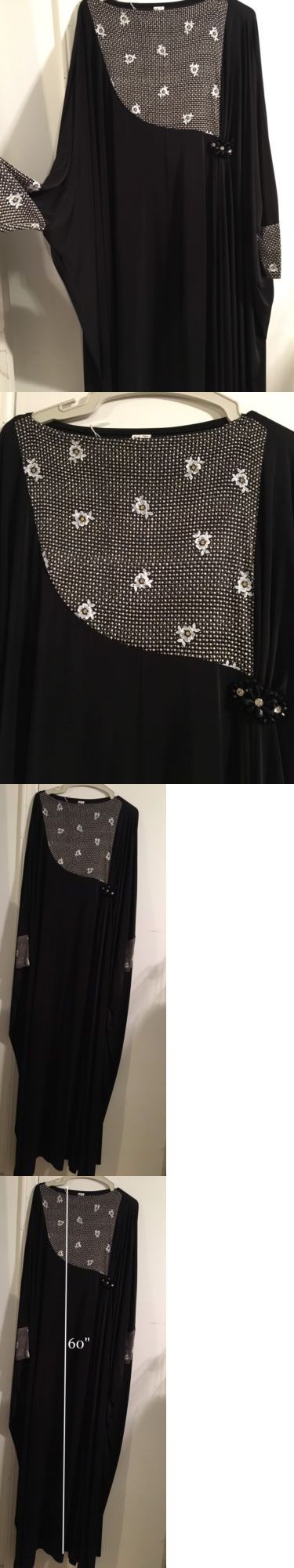 Middle East 155253: Islamic Muslim Women Black Plain Butterfly Abaya Long Dress Maxi W Scarf Size 58 -> BUY IT NOW ONLY: $89.99 on eBay!
