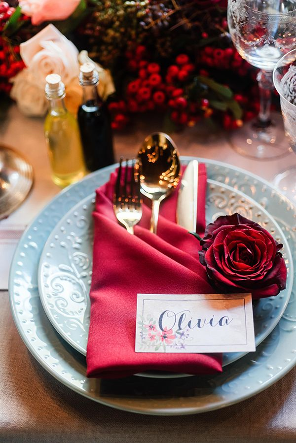 red place settings concept, flowers and styling by Green Goddess flower studio - photo by Debbie Lourens http://ruffledblog.com/french-country-banquet-wedding-inspiration