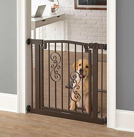 Lesse Dog Gate 32 Tall Expandable To 40 Inch Black Indoor Pet Barrier Walk Through Swinging Door Extra Wide Pressure Mounted Walls Stairs