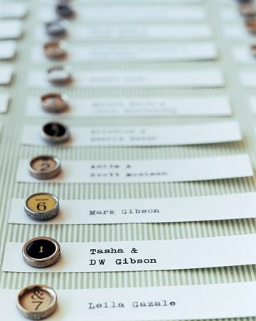 Vintage typewriter keys, most of them from 1920s Smith Coronas and Remingtons, are set on place cards to direct guest to their dinner tables.
