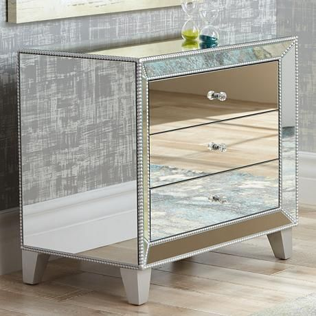 Add Glamour And Dramatic Style To Your Space With This 3 Drawer Mirrored  Accent Table