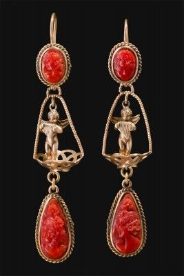 Earrings Neapolitan manufacture Second half 1800 Coral