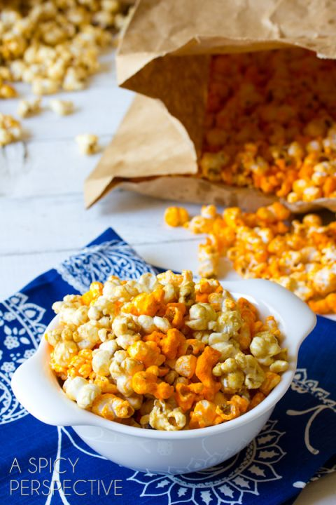Garret's copycat popcorn recipe Carmel and cheddar