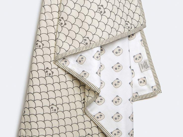 Peekaboo Panda-Organic Cotton Baby Blanket, Gender Neutral Baby Blanket, Baby Blanket, Panda Baby Blanket, Baby Shower Gift, Panda Dohar