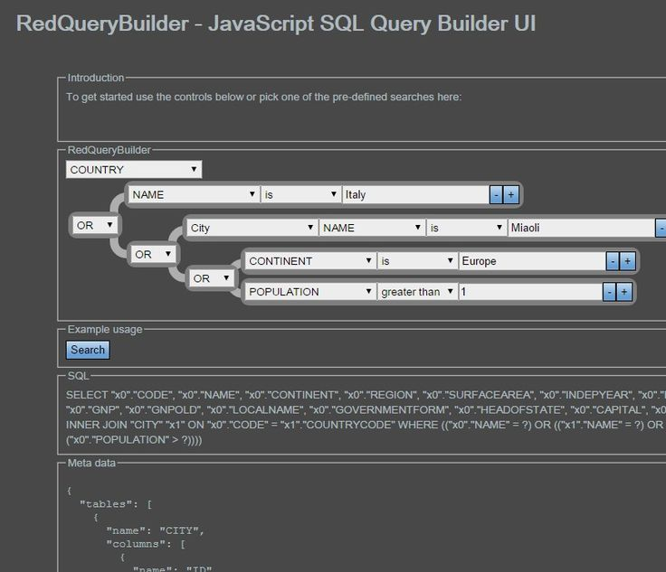 RedQueryBuilder - JavaScript SQL Query Builder UI                                                                                                                                                      もっと見る                                                                                                                                                                                 もっと見る
